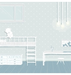 Children boys room in blue background design vector