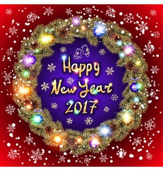 Christmas happy new year 2017 gold wreath red and vector