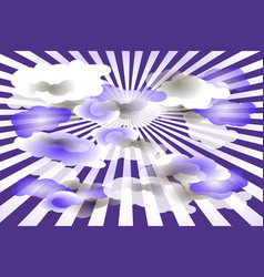 clouds on purple and white rays background vector image