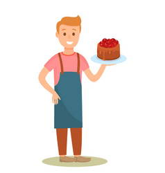 Confectioner holding tasty cake cartoon character vector