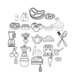 Cook galley icons set outline style vector