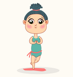 cute bagirl doing yoga children meditation vector image