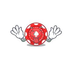 Cute gambling chips cartoon mascot style vector