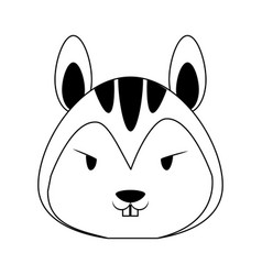 Cute squirrel animal cartoon in black and white vector