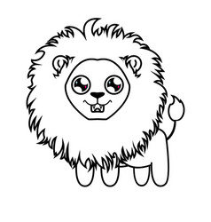 dear little lion lion cub coloring vector image