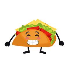 Delicious taco kawaii character vector