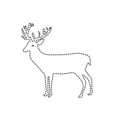 Dotted shape reindeer animal to merry christmas vector