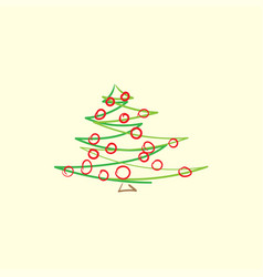 drawn abstract christmas tree vector image