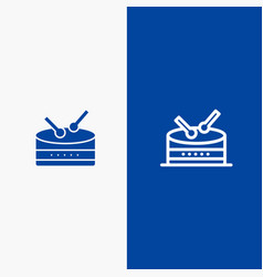 drum celebration line and glyph solid icon blue vector image