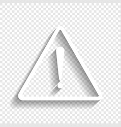Exclamation danger sign flat style white vector