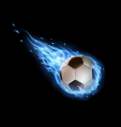 flying soccer ball with blue fire trails sports vector image
