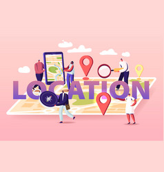 Geolocation concept tiny characters at huge vector