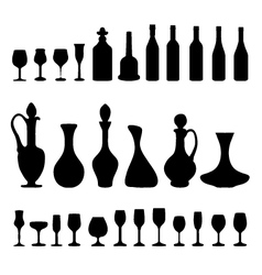 glasses and bottles 3 vector image