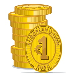 Golden coins with euro sign vector