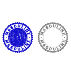 Grunge masculine scratched stamp seals vector