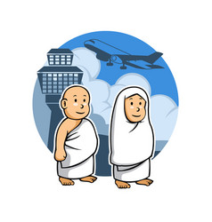 Hajj kids and airport vector