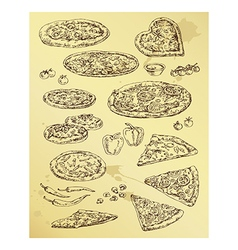 Hand drawing set of pizza vector