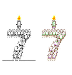 Hand drawn cartoon characters - birthday candle 7 vector