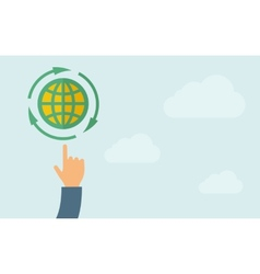 Hand pointing to globe icon vector image