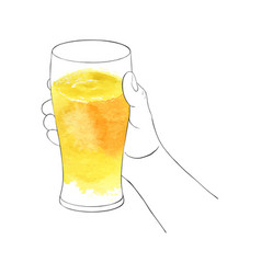 Hand with glass for beer vector