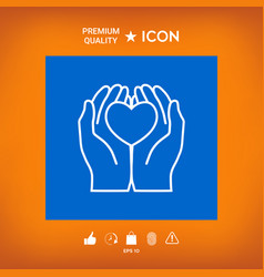 Hands holding heart - protection icon vector