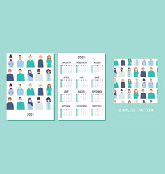 happy new year 2021 a4 calendar or planner vector image