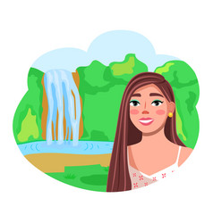 Happy young brunette making selfie at waterfall vector