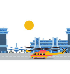 helicopter and plane in airport international vector image