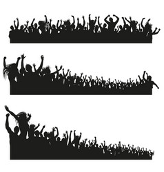 High quality cheering crowd silhouettes vector