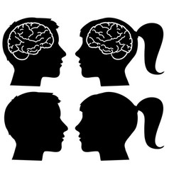 Human profiles silhouettes with brain vector