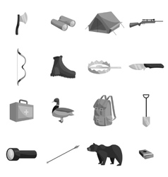 Hunting icons set black monochrome style vector image