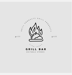 icon and logo for meat and grill cafe or vector image