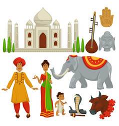 India travel culture symbols architecture vector