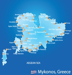 Island of Mykonos in Greece map vector