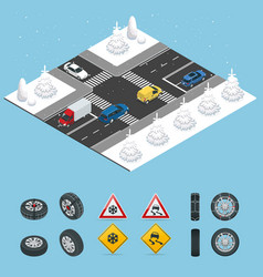 isometric slippery ice winter snow road and vector image