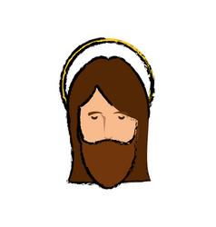 jesuschrist face cartoon vector image