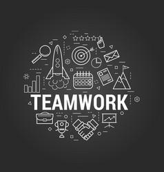 line art - successful teamwork concept vector image