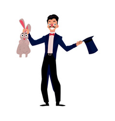 Magician conjuring rabbit out of hat vector