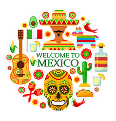 Mexican attributes on white background vector