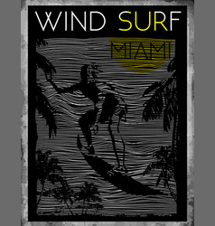 Miami beach wind surfing vector