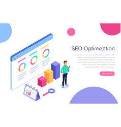 modern flat design isometric concept of seo vector image