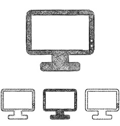 Monitor icon set - sketch line art vector image