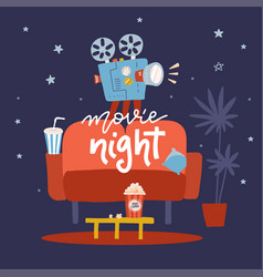 movie night flat design concept design on home vector image