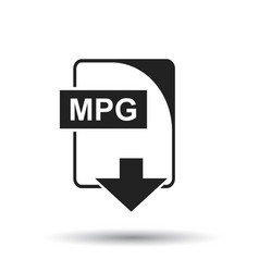 Mpg icon flat mpg download sign symbol with vector