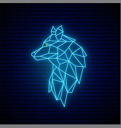 neon wolf sign glowing blue wolf emblem vector image