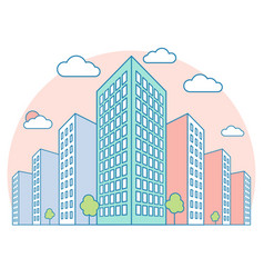 Nice city landscape view with high buildings vector