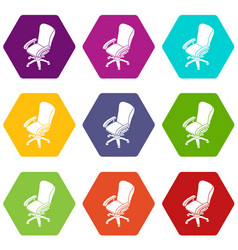 office chair wheel icons set 9 vector image