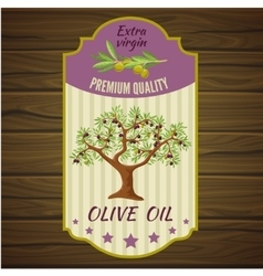 Olive Label On Wood vector