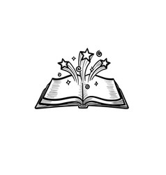 Open magic book with stars hand drawn sketch icon vector