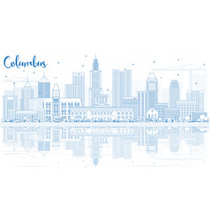 Outline columbus skyline with blue buildings and vector